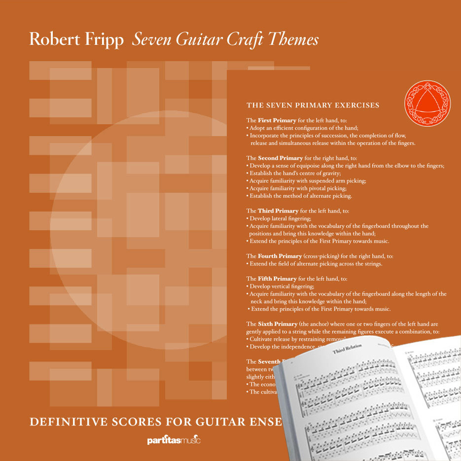 Collage of the Seven Guitar Craft Themes Book including its cover and a little bit of one of its pages. Orange.